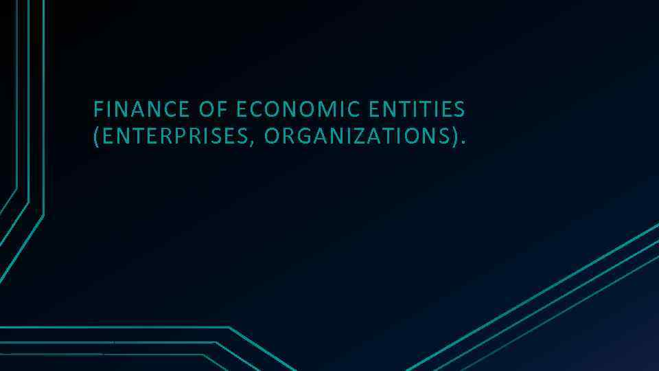 FINANCE OF ECONOMIC ENTITIES (ENTERPRISES, ORGANIZATIONS).