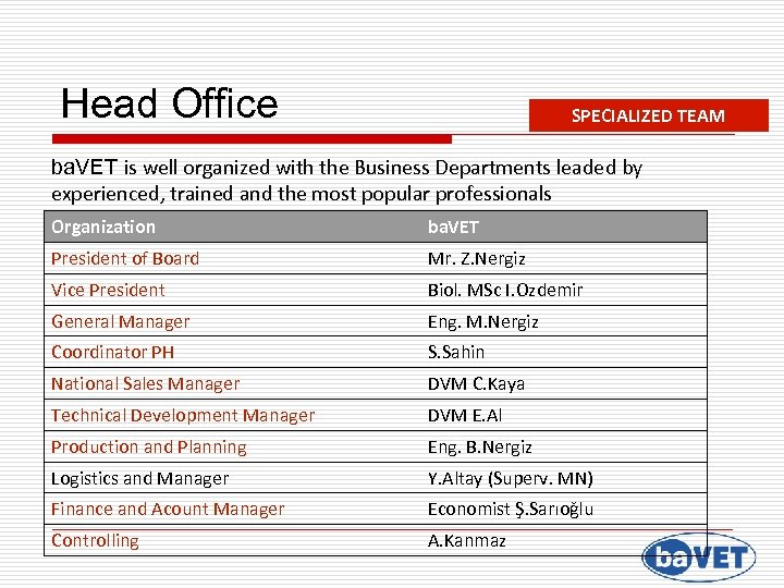 Head Office SPECIALIZED TEAM ba. VET is well organized with the Business Departments leaded