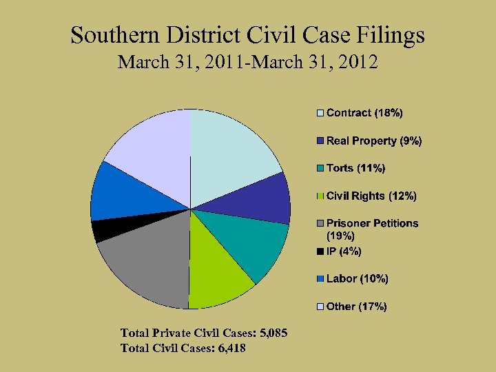 Southern District Civil Case Filings March 31, 2011 -March 31, 2012 Total Private Civil