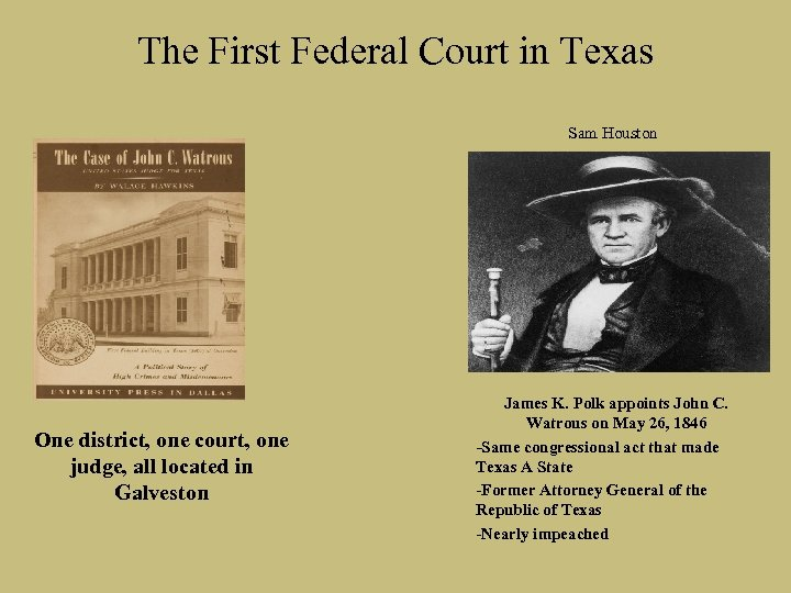 The First Federal Court in Texas Sam Houston One district, one court, one judge,