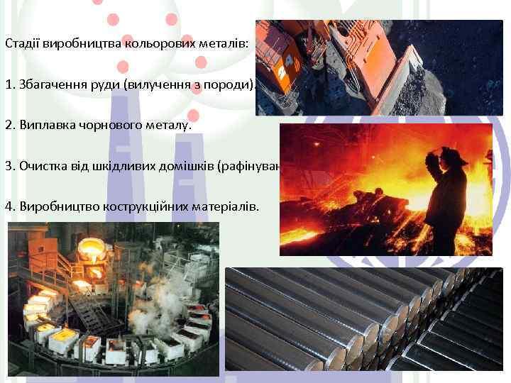 Стадії виробництва кольорових металів: 1. Збагачення руди (вилучення з породи). 2. Виплавка чорнового металу.