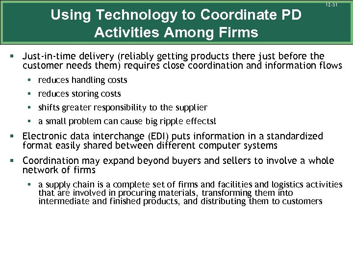 Using Technology to Coordinate PD Activities Among Firms 12 -31 § Just-in-time delivery (reliably