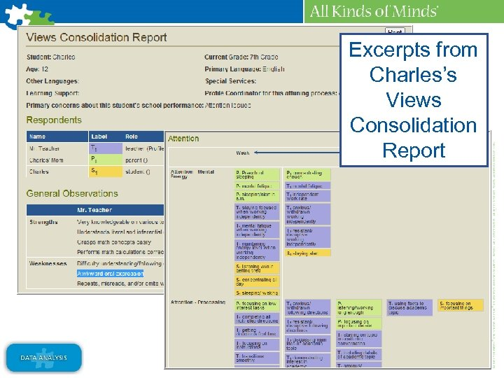 Excerpts from Charles's Views Consolidation Report