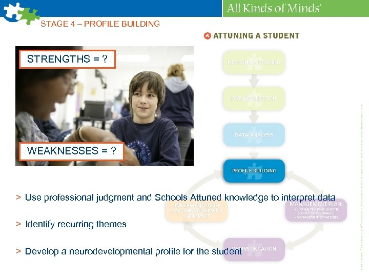 STAGE 4 – PROFILE BUILDING STRENGTHS = ? WEAKNESSES = ? > Use professional