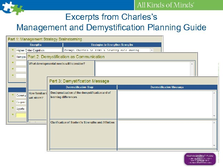 Excerpts from Charles's Management and Demystification Planning Guide