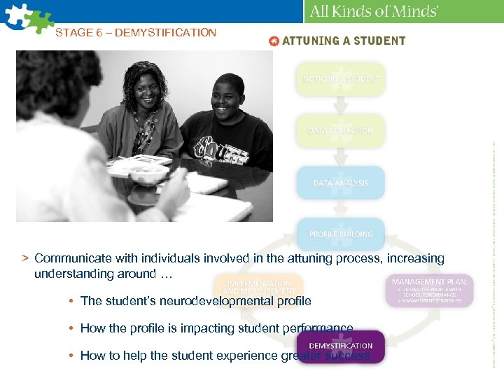 STAGE 6 – DEMYSTIFICATION > Communicate with individuals involved in the attuning process, increasing