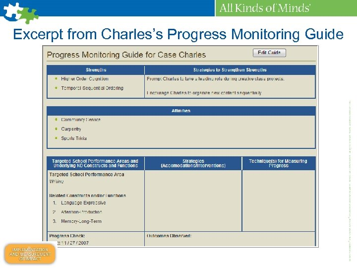 Excerpt from Charles's Progress Monitoring Guide