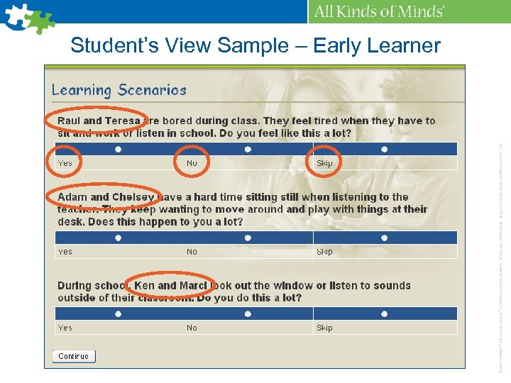 Student's View Sample – Early Learner