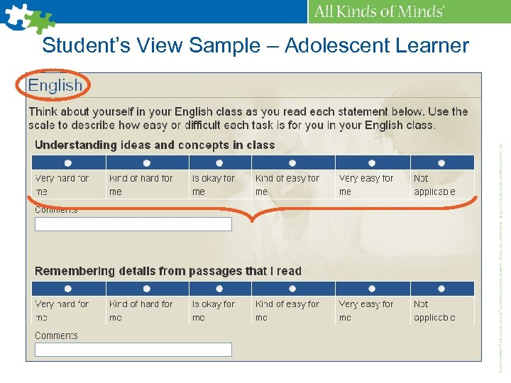 Student's View Sample – Adolescent Learner