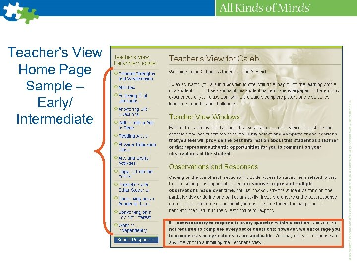 Teacher's View Home Page Sample – Early/ Intermediate