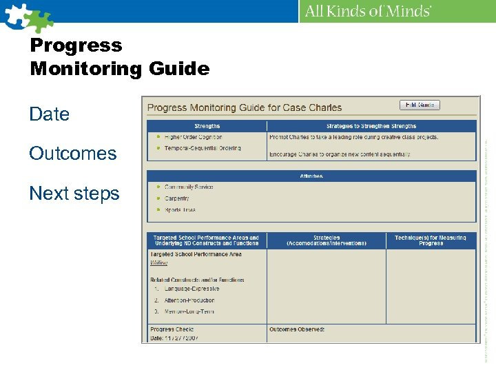 Progress Monitoring Guide Date Outcomes Next steps