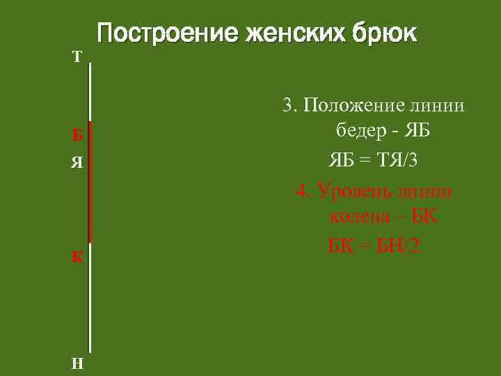 Т Б Я К Н Построение женских брюк 3. Положение линии бедер - ЯБ