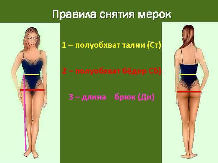Правила снятия мерок 1 – полуобхват талии (Ст) 2 – полуобхват бёдер Сб) 3