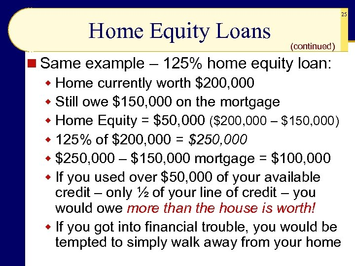 25 Home Equity Loans (continued) n Same example – 125% home equity loan: w