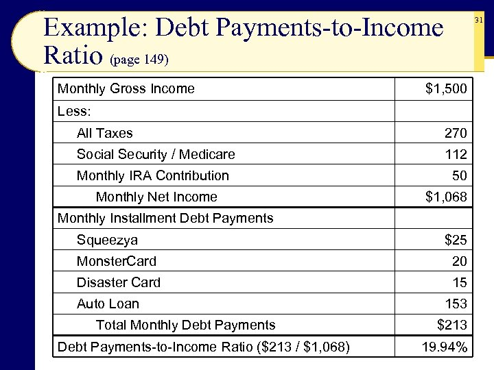 Example: Debt Payments-to-Income Ratio (page 149) Monthly Gross Income 31 $1, 500 Less: All
