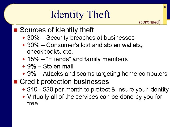 Identity Theft n 41 (continued) Sources of identity theft w 30% – Security breaches