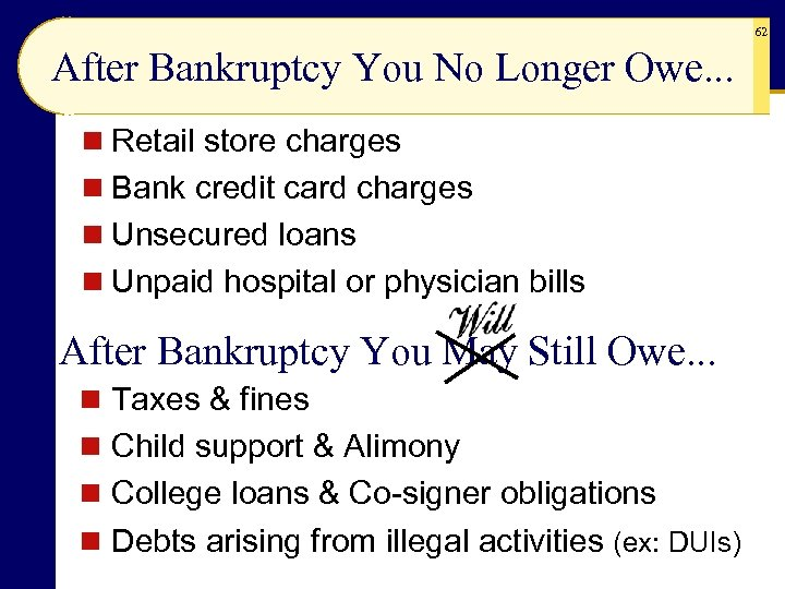 62 After Bankruptcy You No Longer Owe. . . n Retail store charges n