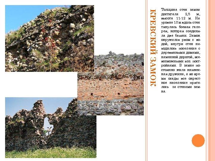 КРЕВСКИЙ ЗАМОК Толщина стен замка достигала 2, 5 м, высота 11 -12 м. На