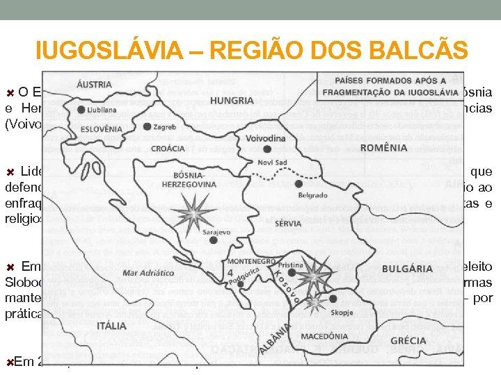 IUGOSLÁVIA – REGIÃO DOS BALCÃS O Estado Iugoslavo constituía-se de seis repúblicas (Eslovênia, Croácia,