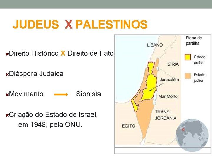 JUDEUS X PALESTINOS Direito Histórico X Direito de Fato Diáspora Judaica Movimento Sionista Criação