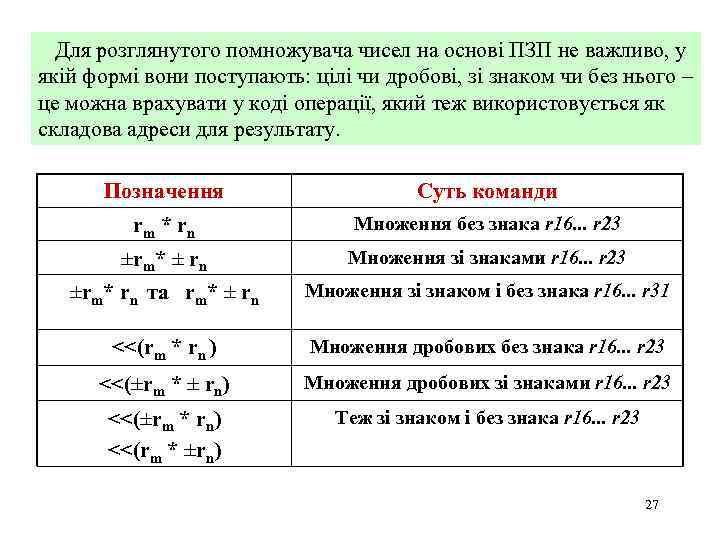 Для розглянутого помножувача чисел на основі ПЗП не важливо, у якій формі вони