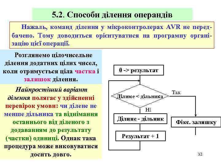 5. 2. Способи ділення операндів Нажаль, команд ділення у мікроконтролерах AVR не передбачено. Тому
