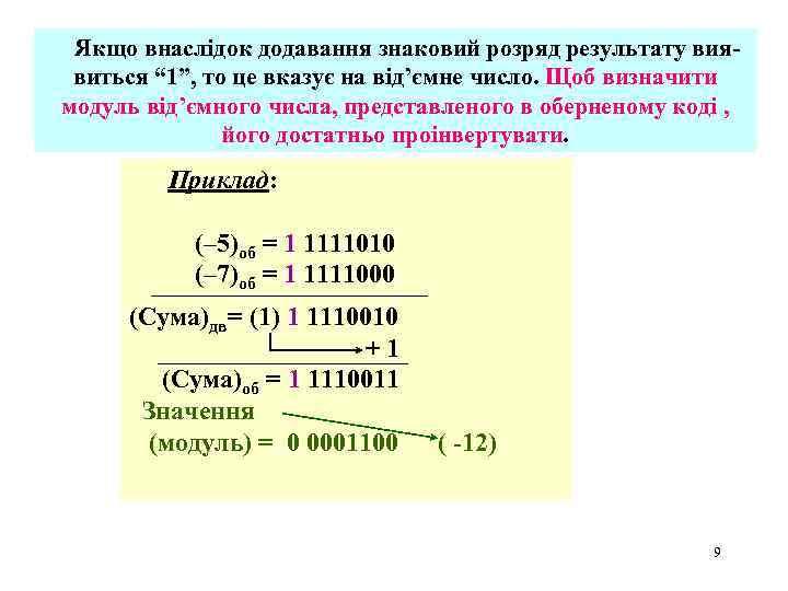 """Якщо внаслідок додавання знаковий розряд результату виявиться """" 1"""", то це вказує на від'ємне"""
