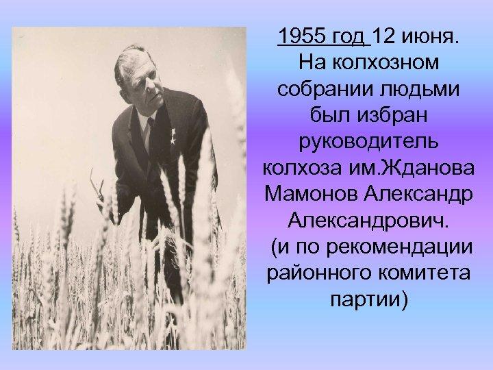 1955 год 12 июня. На колхозном собрании людьми был избран руководитель колхоза им. Жданова