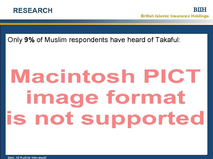 RESEARCH BIIH British Islamic Insurance Holdings Only 9% of Muslim respondents have heard of