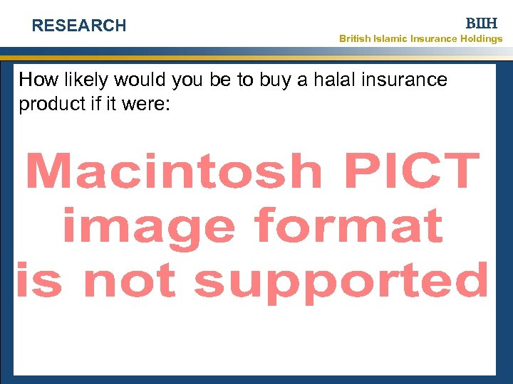 RESEARCH BIIH British Islamic Insurance Holdings How likely would you be to buy a