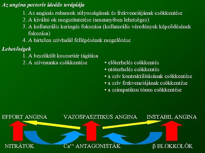 Az angina pectoris ideális terápiája 1. Az anginás rohamok súlyosságának és frekvenciájának csökkentése 2.