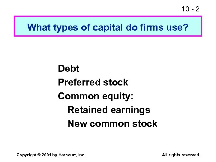 10 - 2 What types of capital do firms use? Debt Preferred stock Common