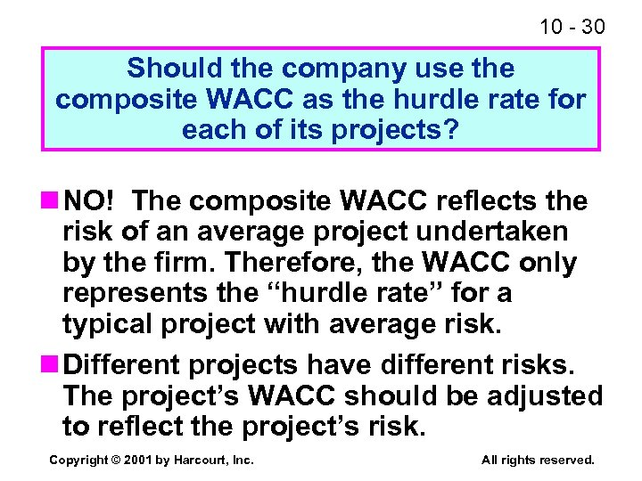 10 - 30 Should the company use the composite WACC as the hurdle rate