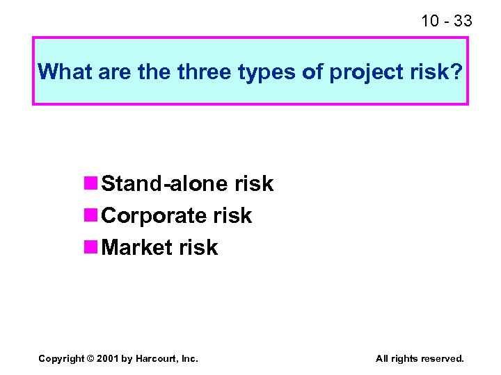 10 - 33 What are three types of project risk? n Stand-alone risk n