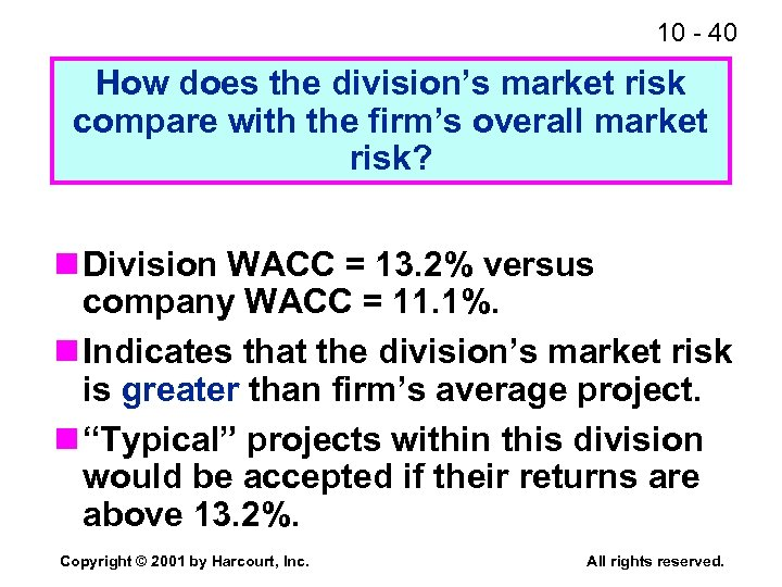10 - 40 How does the division's market risk compare with the firm's overall
