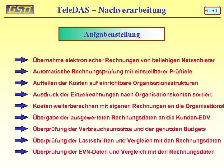 Tele. DAS – Nachverarbeitung Folie 1 Aufgabenstellung Übernahme elektronischer Rechnungen von beliebigen Netzanbieter Automatische