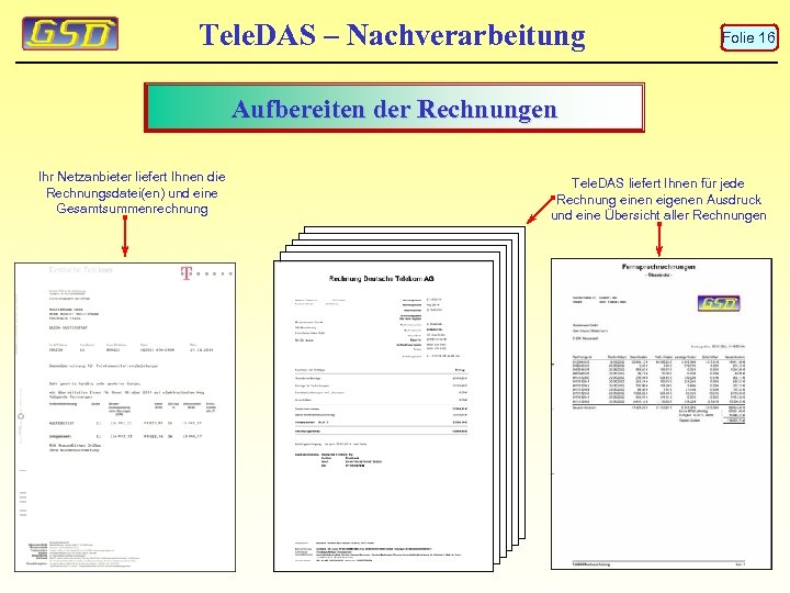 Tele. DAS – Nachverarbeitung Folie 16 Aufbereiten der Rechnungen Ihr Netzanbieter liefert Ihnen die