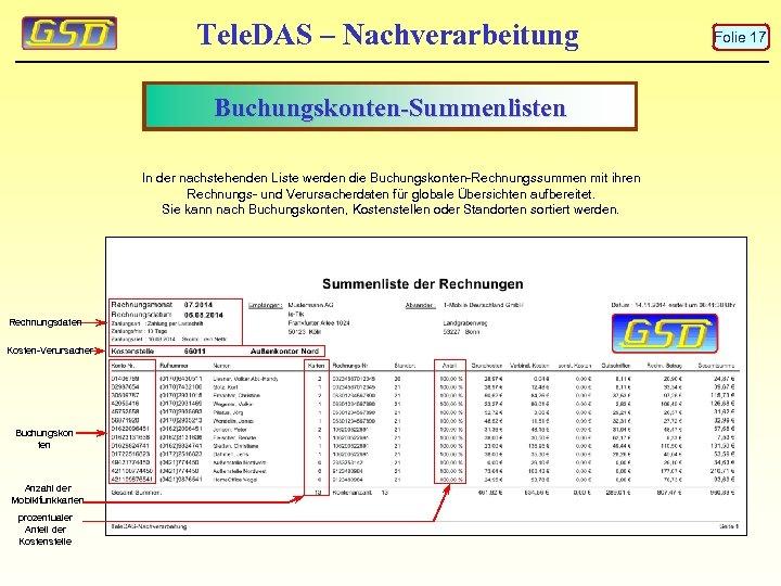Tele. DAS – Nachverarbeitung Buchungskonten-Summenlisten In der nachstehenden Liste werden die Buchungskonten-Rechnungssummen mit ihren