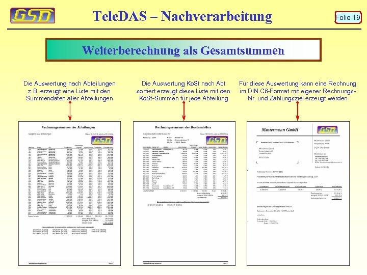 Tele. DAS – Nachverarbeitung Folie 19 Weiterberechnung als Gesamtsummen Die Auswertung nach Abteilungen z.