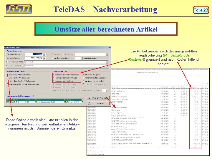 Tele. DAS – Nachverarbeitung Folie 23 Umsätze aller berechneten Artikel Die Artikel werden nach