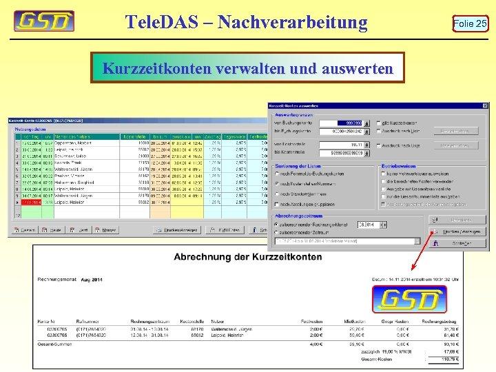 Tele. DAS – Nachverarbeitung Kurzzeitkonten verwalten und auswerten Folie 25