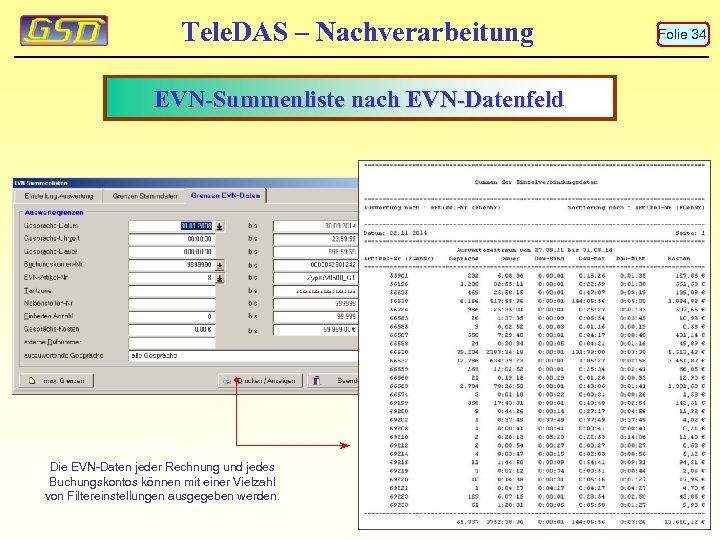 Tele. DAS – Nachverarbeitung EVN-Summenliste nach EVN-Datenfeld Die EVN-Daten jeder Rechnung und jedes Buchungskontos