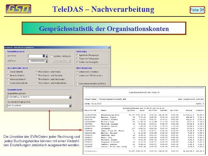 Tele. DAS – Nachverarbeitung Gesprächsstatistik der Organisationskonten Die Umsätze der EVN-Daten jeder Rechnung und