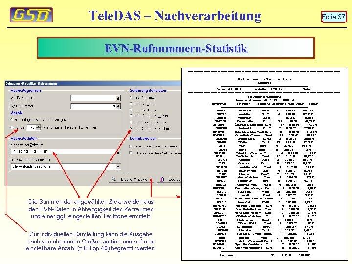 Tele. DAS – Nachverarbeitung Folie 37 EVN-Rufnummern-Statistik ============================================= Die Summen der angewählten Ziele werden