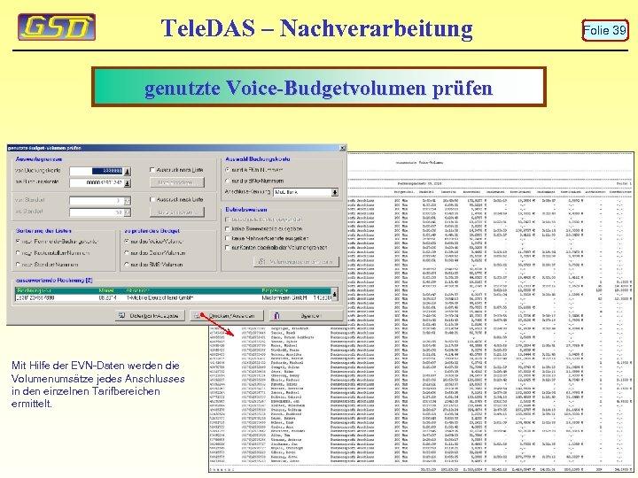 Tele. DAS – Nachverarbeitung genutzte Voice-Budgetvolumen prüfen Mit Hilfe der EVN-Daten werden die Volumenumsätze