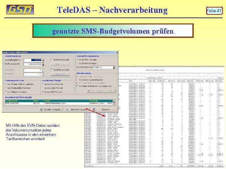 Tele. DAS – Nachverarbeitung genutzte SMS-Budgetvolumen prüfen Mit Hilfe der EVN-Daten werden die Volumenumsätze
