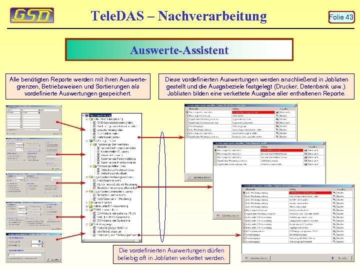Tele. DAS – Nachverarbeitung Folie 43 Auswerte-Assistent Alle benötigten Reporte werden mit ihren Auswertegrenzen,