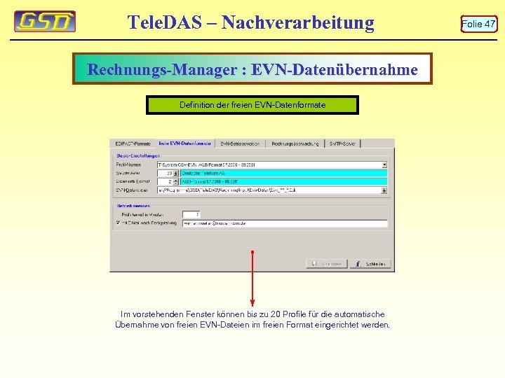 Tele. DAS – Nachverarbeitung Rechnungs-Manager : EVN-Datenübernahme Definition der freien EVN-Datenformate Im vorstehenden Fenster