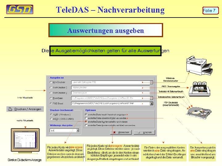 Tele. DAS – Nachverarbeitung Auswertungen ausgeben Diese Ausgabemöglichkeiten gelten für alle Auswertungen Folie 7