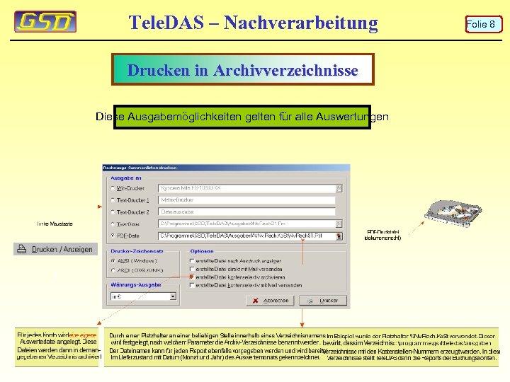 Tele. DAS – Nachverarbeitung Drucken in Archivverzeichnisse Diese Ausgabemöglichkeiten gelten für alle Auswertungen Folie
